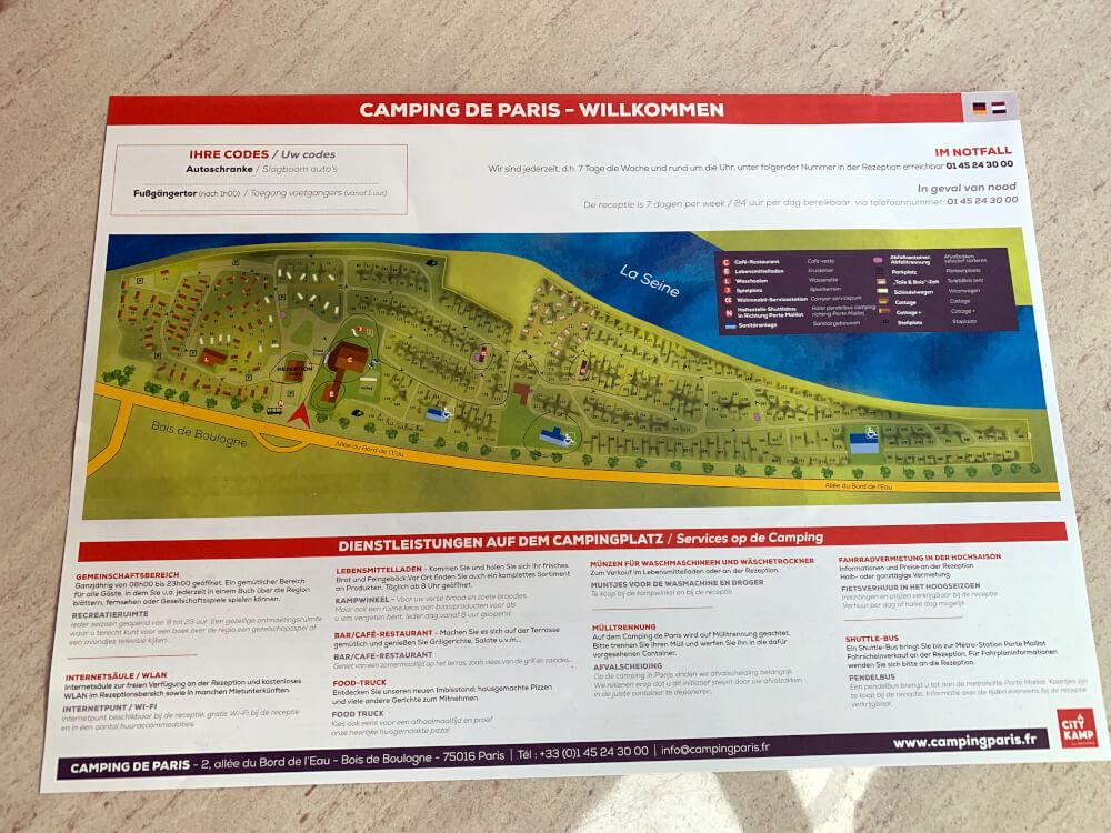 Lageplan des Campingplatzes