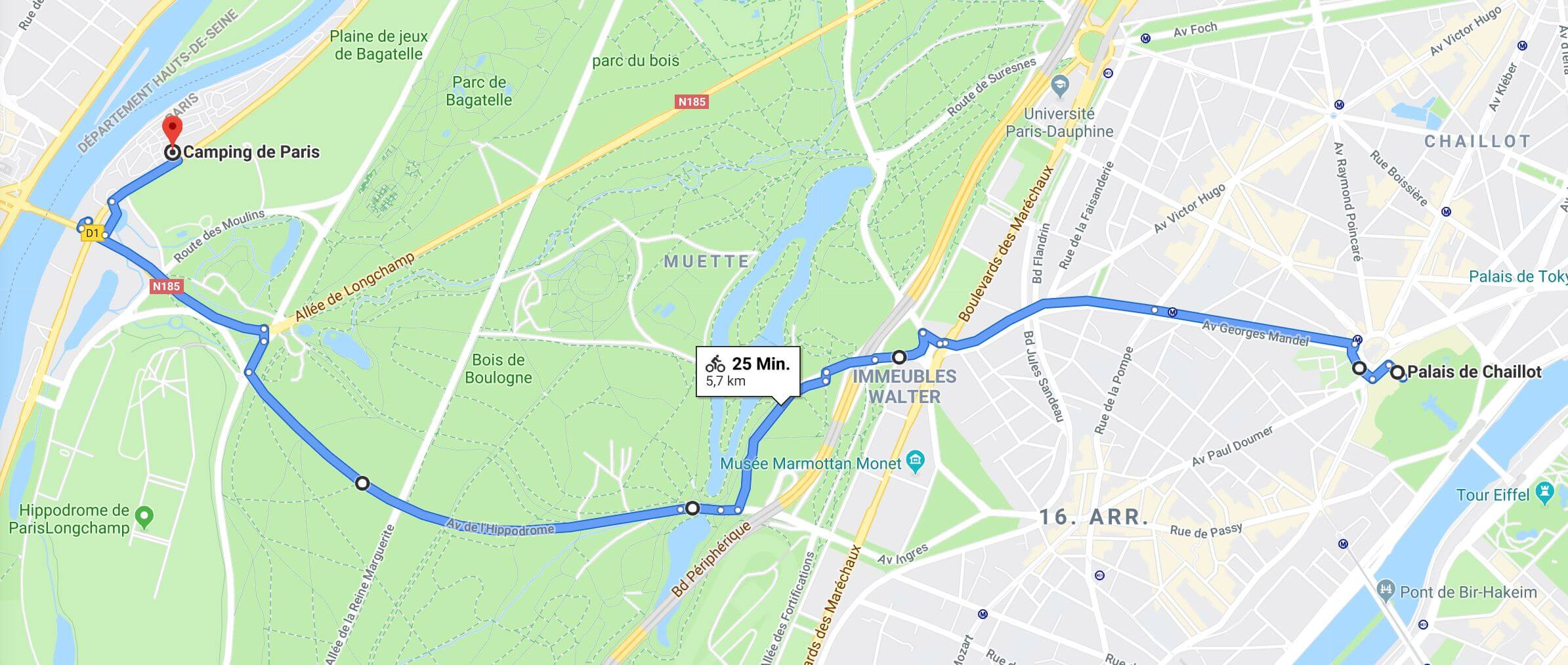 Route vom Camping de Paris bis zum Eiffelturm