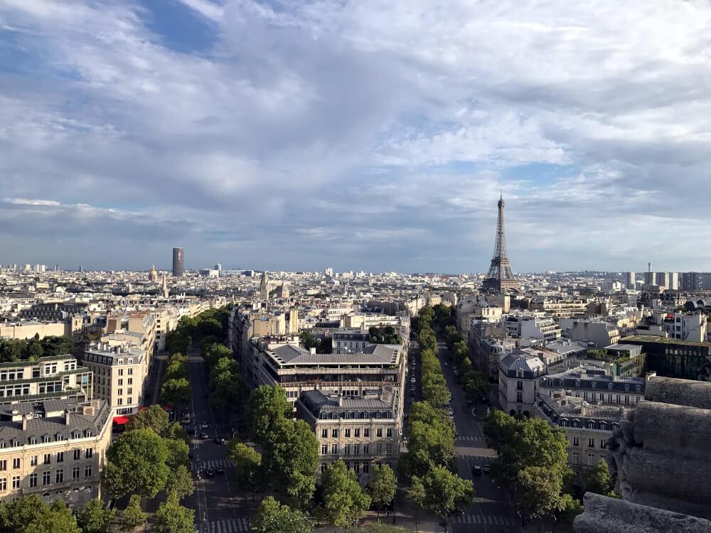 Blick vom Arc de Triomphe auf den Eiffelturm