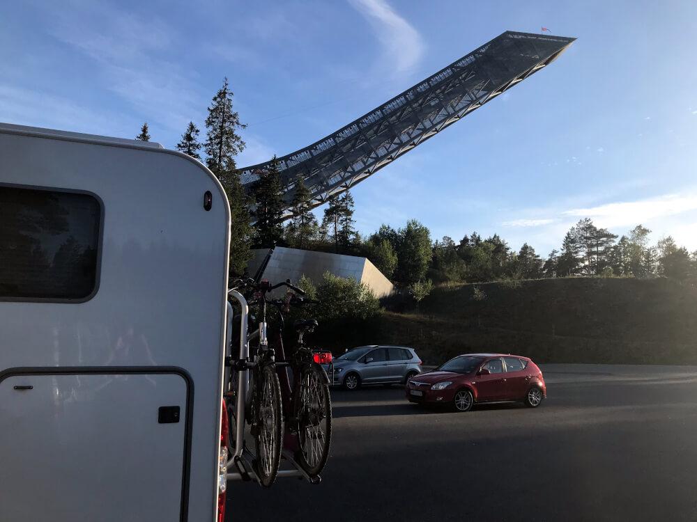 Stellplatz in Oslo an der Sprungschanze Holmenkollen