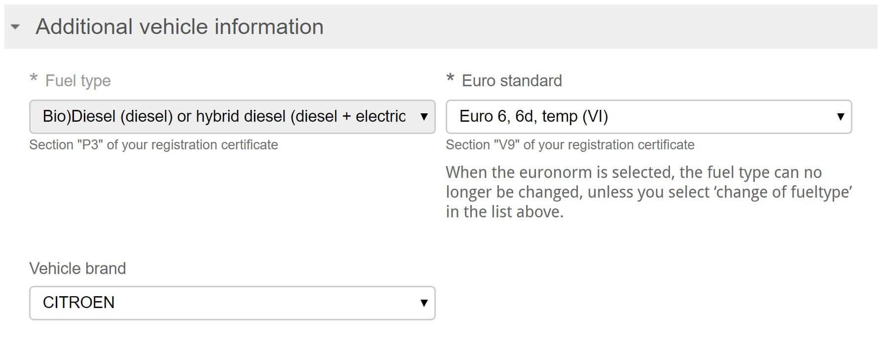 Screenshot Umwetzone Brüssel Registrierung erweiterte Fahrzeuginformationen