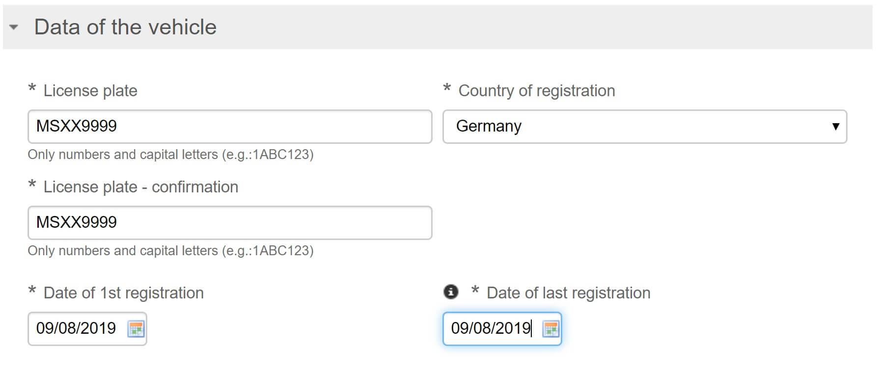 Screenshot Umwetzone Brüssel Registrierung Fahrzeuginformationen