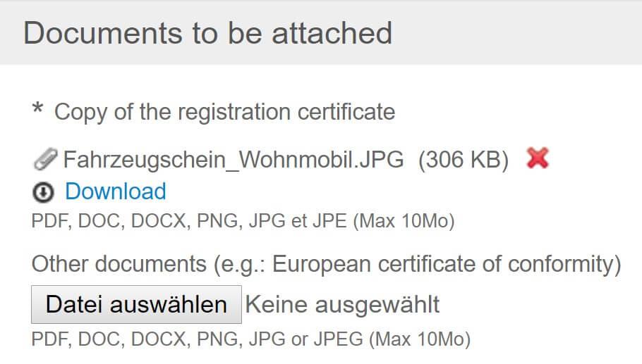 Screenshot Umwetzone Brüssel Registrierung Upload Fahrzeugschein