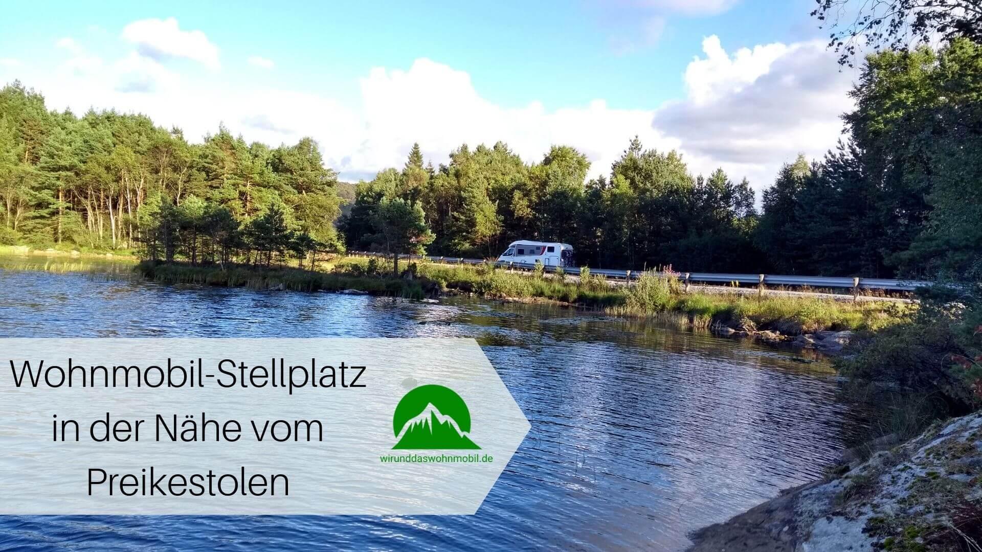Wohnmobil Stellplatz in der Nähe des Preikestolen in Norwegen an einem kleinen See mitten in der Natur