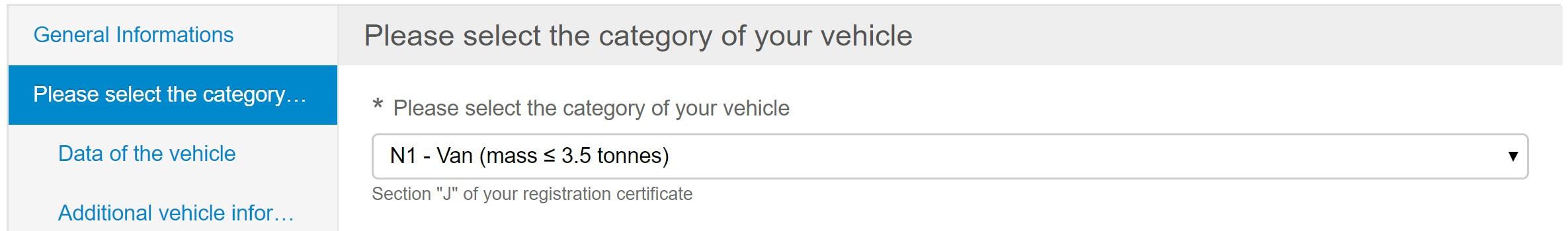 Screenshot Umwetzone Brüssel Registrierung Fahrzeugkategorie