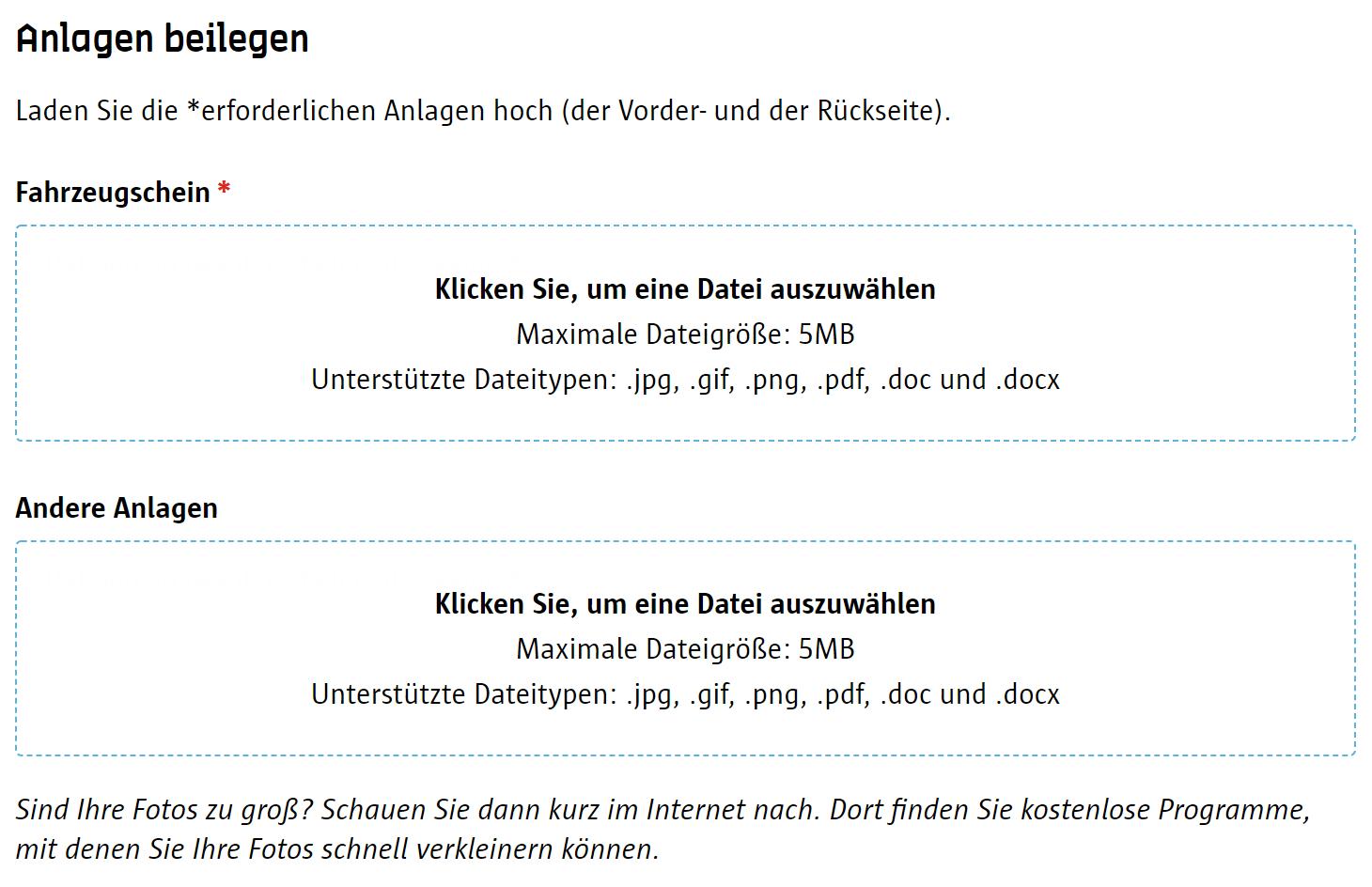 Screenshot Umwetzone Antwerpen Registrierung Anlagen