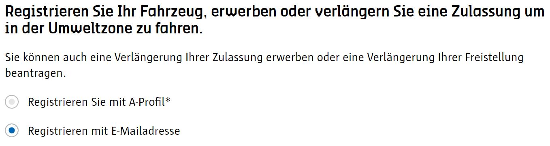 Screenshot Umwetzone Antwerpen Registrierung Auswahl Registrierungsform