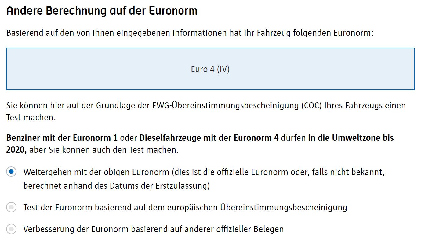 Screenshot Umwetzone Antwerpen Registrierung Berechnung Euronorm