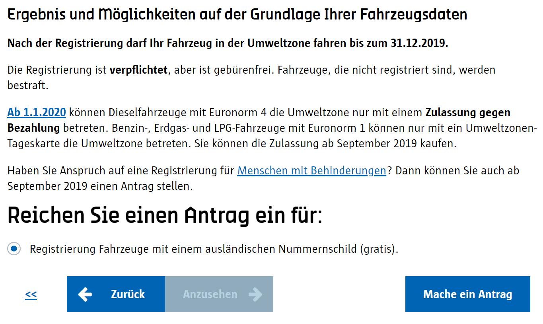 Screenshot Umwetzone Antwerpen Registrierung Ergebnis Prüfung
