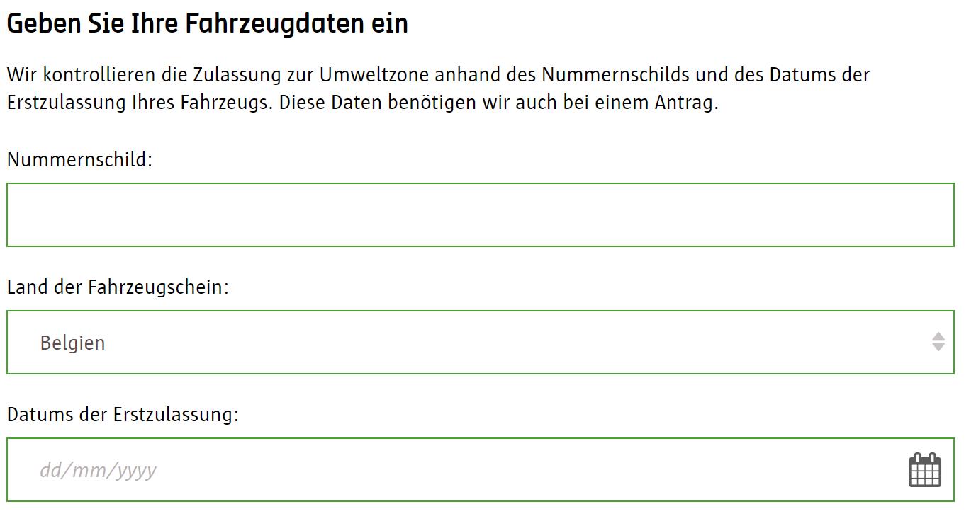 Screenshot Umwetzone Antwerpen Registrierung Fahrzeugdaten